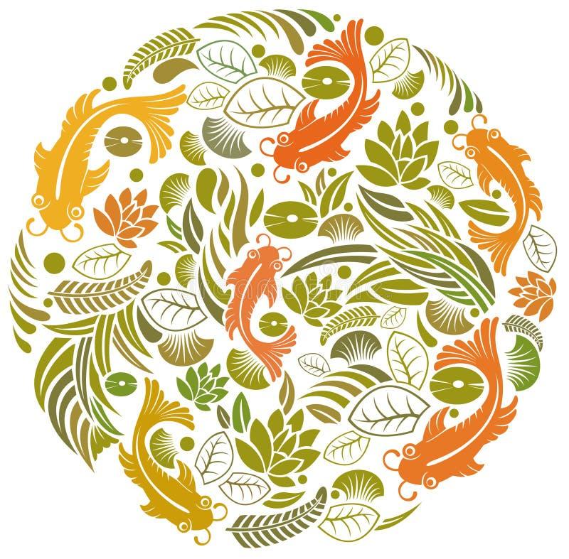 pesci e fiore illustrazione vettoriale