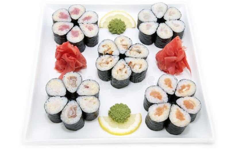 Pesci e frutti di mare giapponesi dei sushi immagini stock