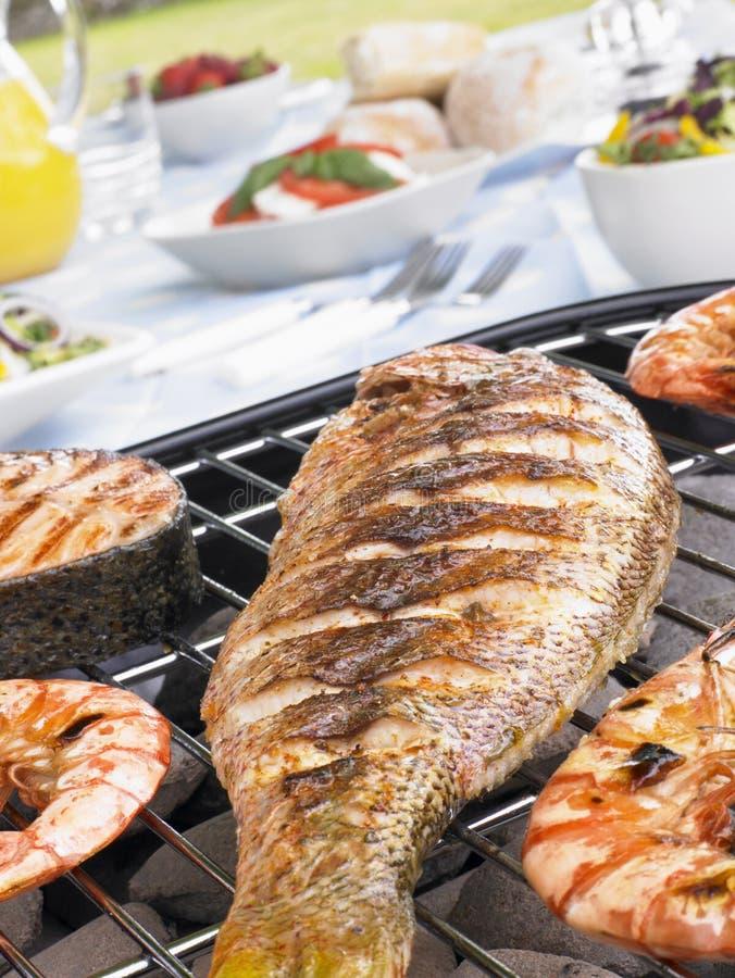 Pesci e gamberetti che cucinano su una griglia fotografie stock libere da diritti