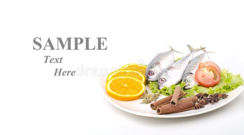 Pesci freschi decorati con il testo del campione dell'input fotografia stock libera da diritti