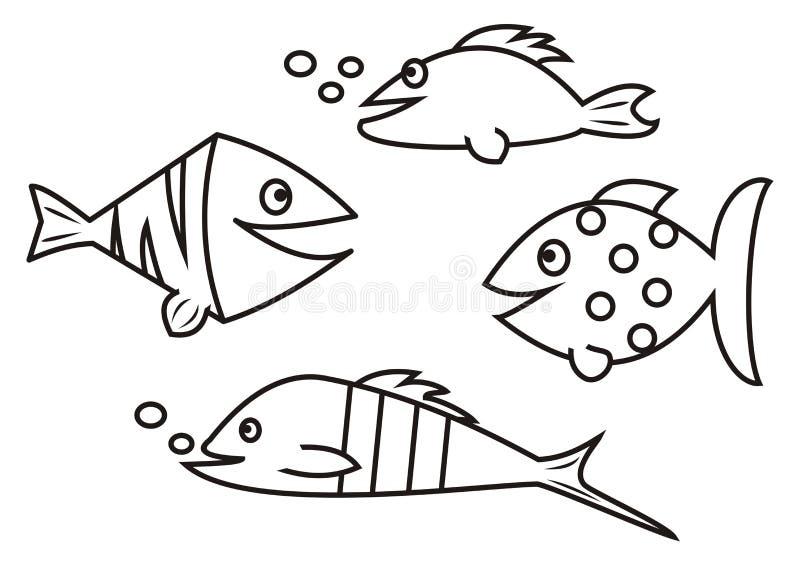 Pesci libro da colorare illustrazione vettoriale for Disegni di pesci da stampare