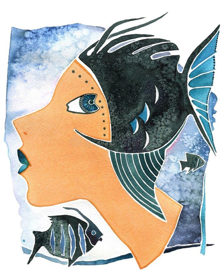 Pesci-ragazza, ragazza del fronte come pesci di simbolo di astrologia su un fondo del modello illustrazione vettoriale