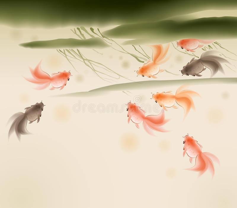 Pesci rossi nello stagno di loto illustrazione vettoriale for Pesci da stagno