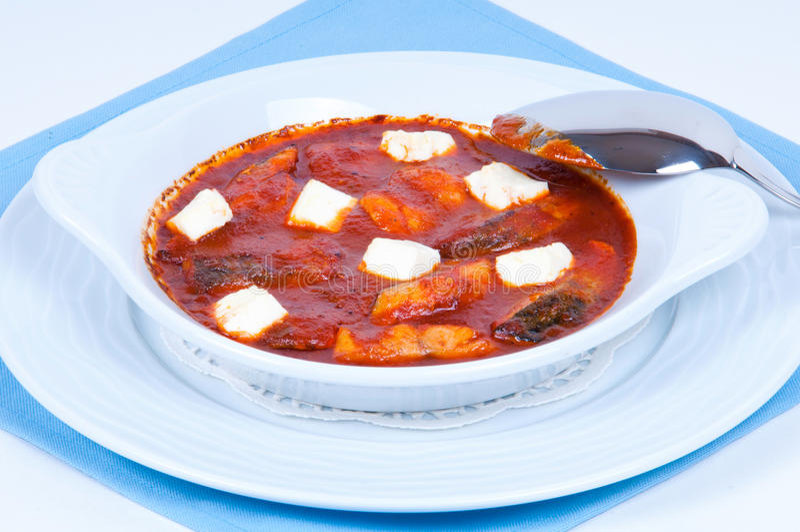 Pesci in salsa e formaggio di pomodori. immagini stock libere da diritti