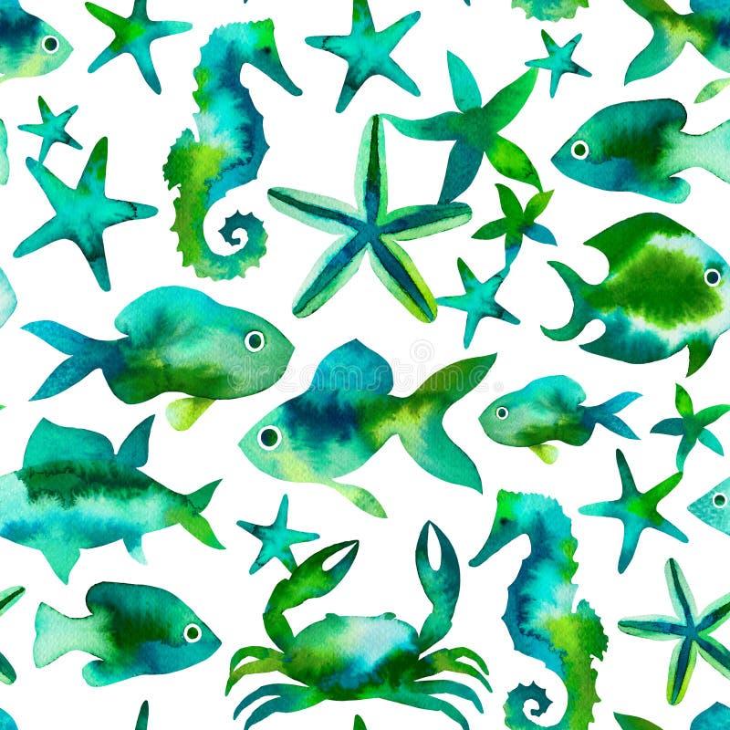 Pesci, seastars, granchi e ippocampi svegli royalty illustrazione gratis