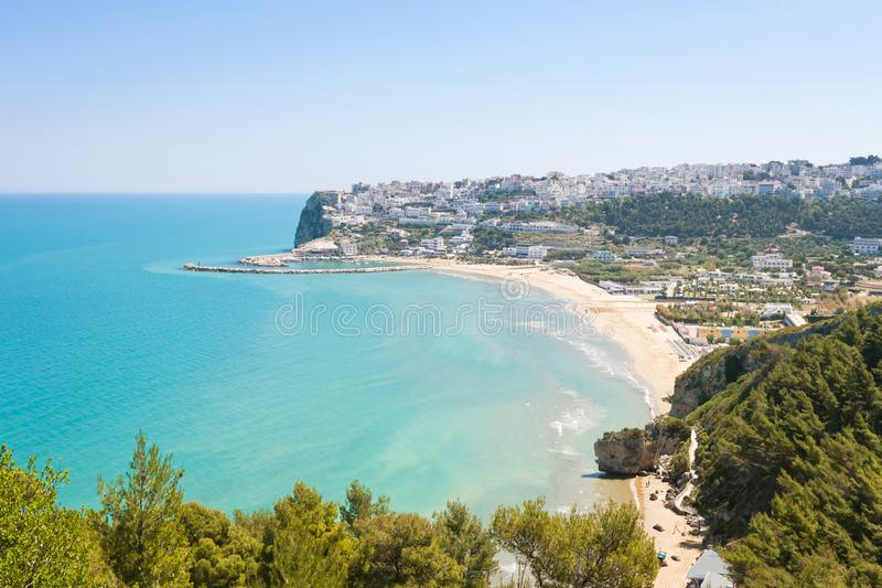 Pescichi, Apulia - View onto Pescichi from a lookout on the cliffs royalty free stock image