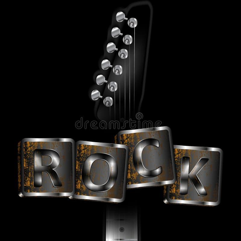 Pescoço da guitarra com rocha das palavras ilustração do vetor