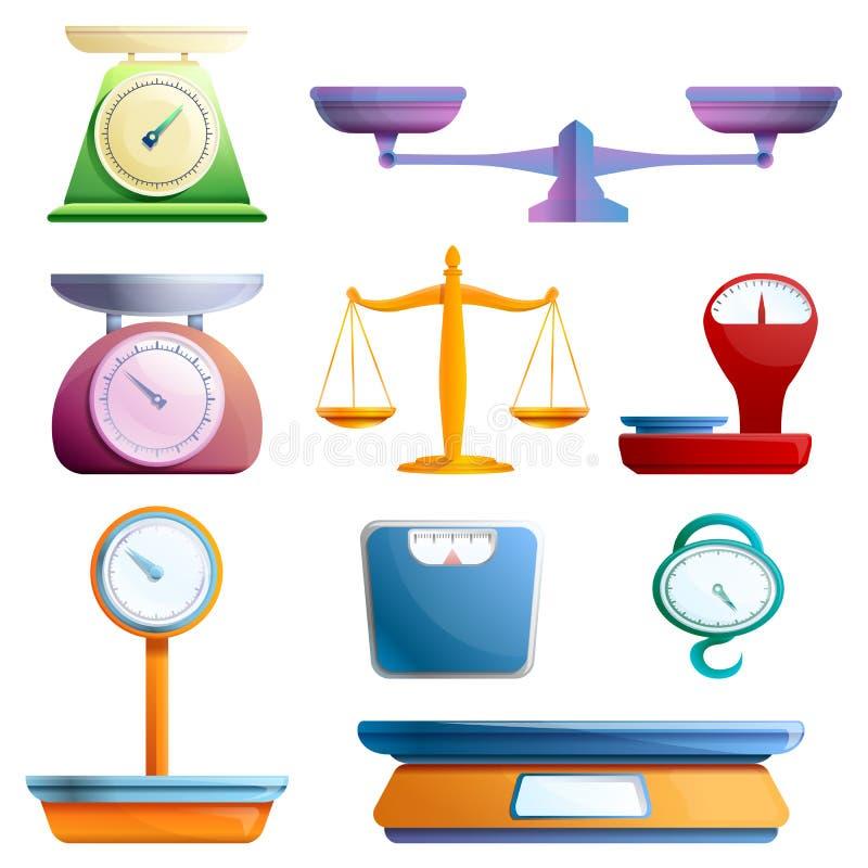 Pese ícones grupo das escalas, estilo dos desenhos animados ilustração stock
