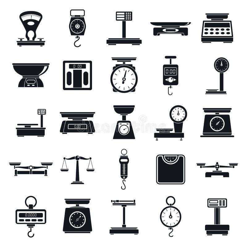 Pese o grupo dos ícones da ferramenta das escalas, estilo simples ilustração do vetor