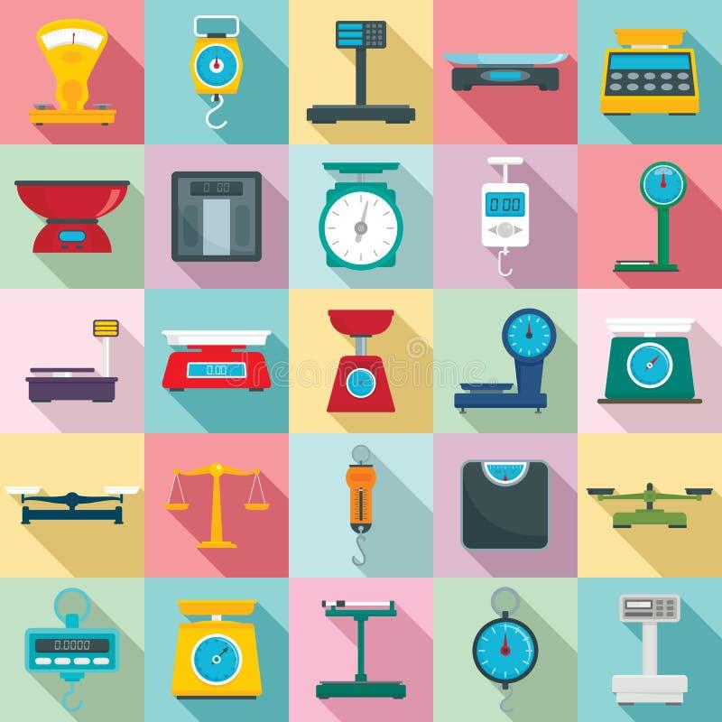 Pese o grupo dos ícones das escalas, estilo liso ilustração do vetor