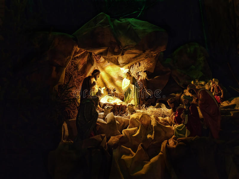 Pesebre de la Navidad foto de archivo