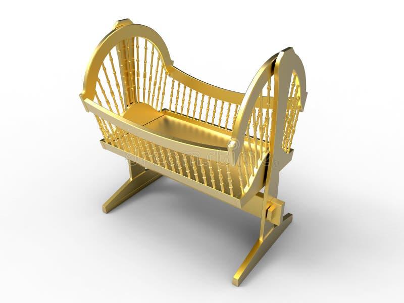 Pesebre de oro del bebé stock de ilustración. Ilustración de sueño ...