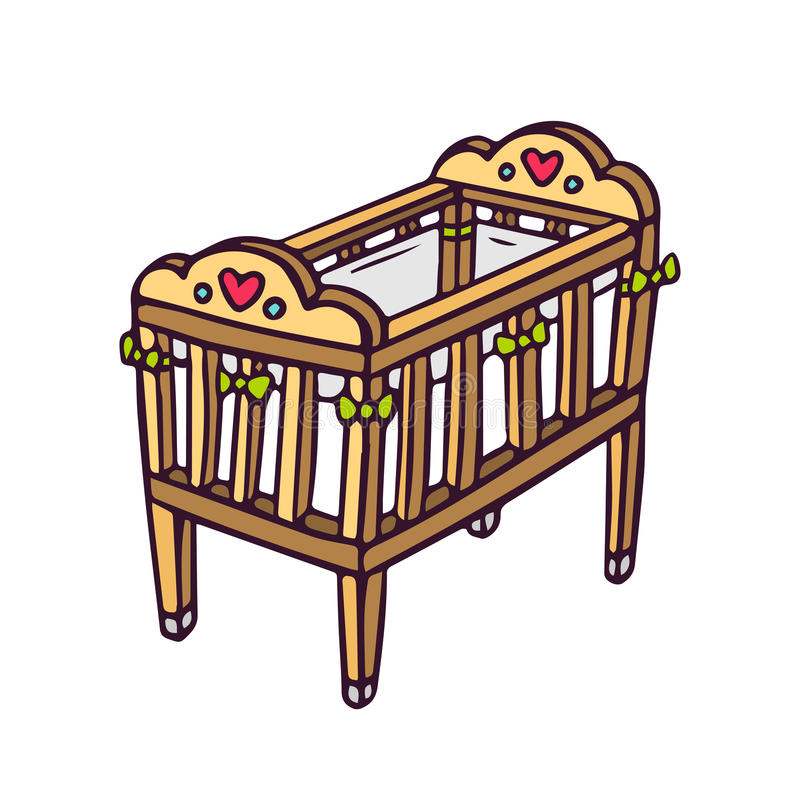 Pesebre del bebé del vector en blanco libre illustration
