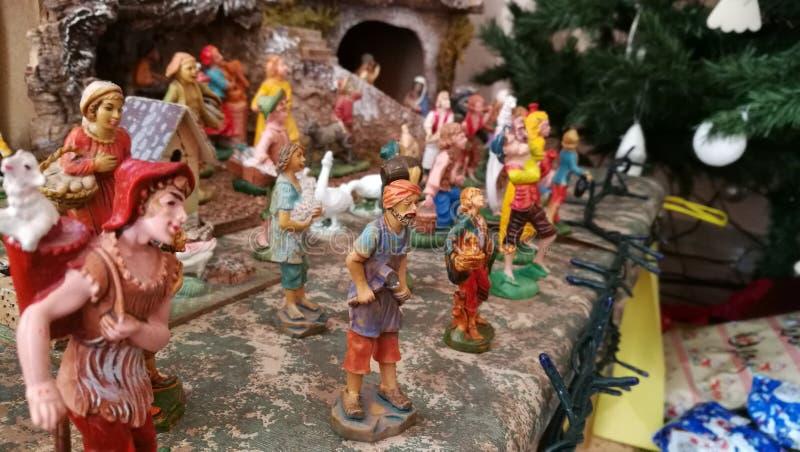 Pesebre hecho en casa de la Navidad, detalles profundos foto de archivo libre de regalías