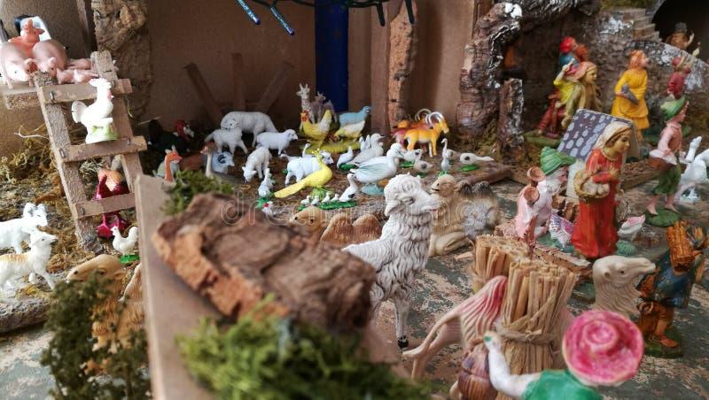 Pesebre hecho en casa de la Navidad, hogar, detalle fotografía de archivo libre de regalías