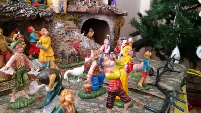 Pesebre hecho en casa de la Navidad, Italia, Palermo fotos de archivo libres de regalías