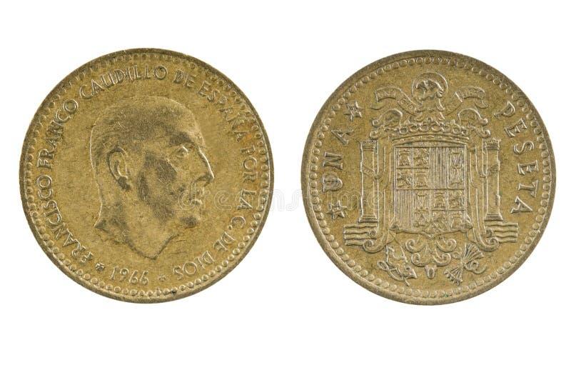 Peseta espanhola 1966 da moeda uma imagens de stock