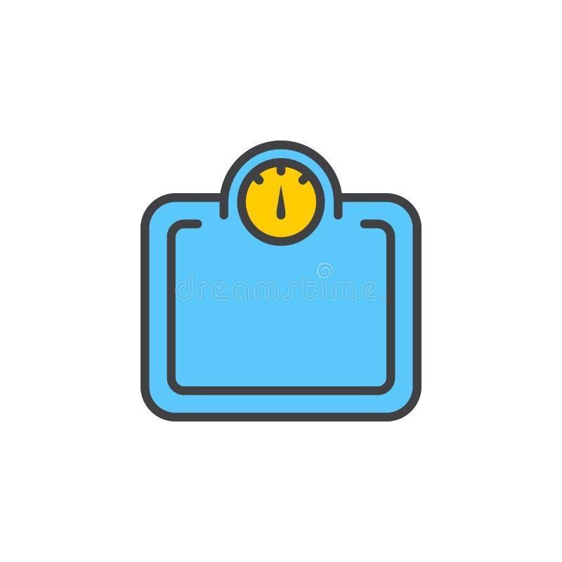 Pesez la ligne icône, signe rempli de vecteur d'ensemble, pictogramme coloré linéaire d'échelle d'isolement sur le blanc illustration de vecteur