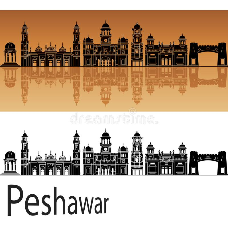 Peshawar skyline in orange background. In vector file vector illustration