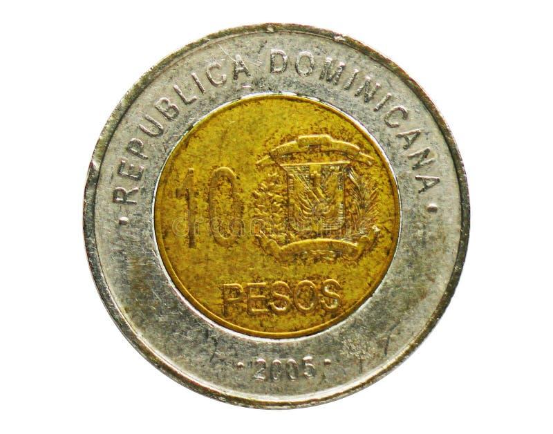10 pesi coniano, contano della Repubblica dominicana Complemento, edizione 2005 immagini stock libere da diritti