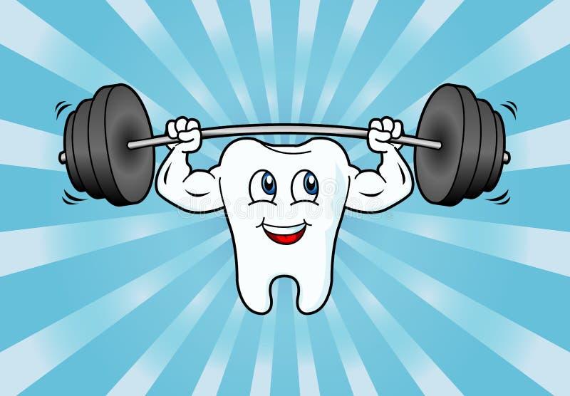 Pesi di sollevamento del carattere del dente del fumetto illustrazione vettoriale