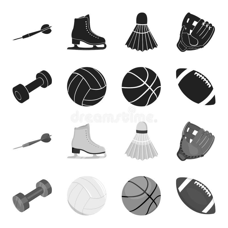 Peso azul, bola de futebol branca, basquetebol, bola de rugby Ícones ajustados da coleção do esporte no vetor preto, monocromátic ilustração do vetor