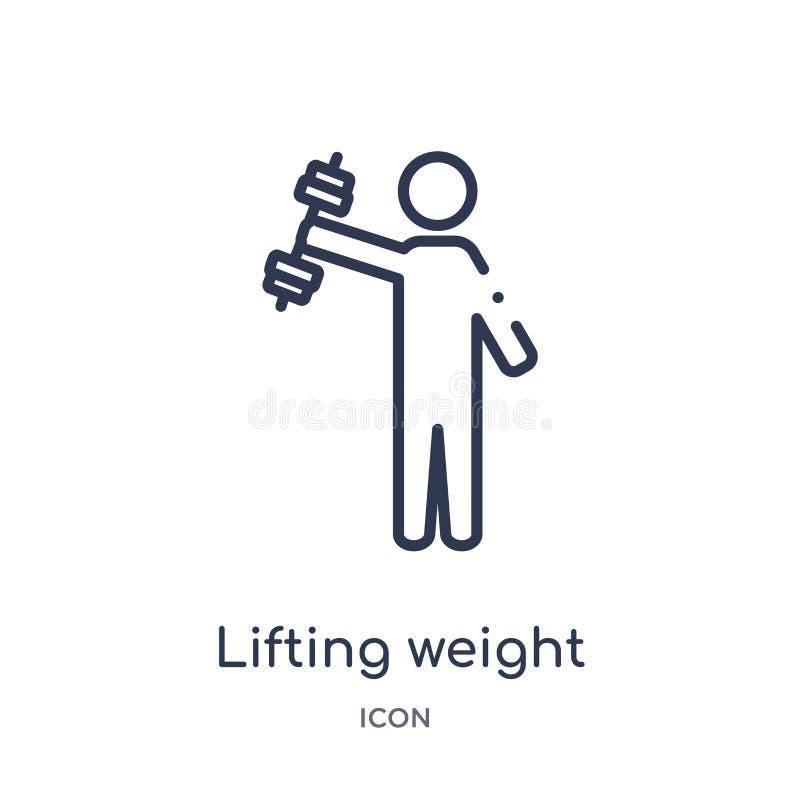 Peso de elevación linear con el icono del brazo derecho del gimnasio y de la colección del esquema de la aptitud Línea fina peso  ilustración del vector