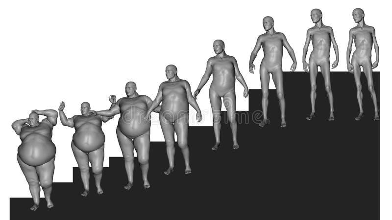 Peso de la pérdida (resultado de la dieta) ilustración del vector