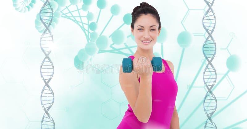 Peso de levantamento da mulher saudável contra a estrutura do ADN ilustração stock