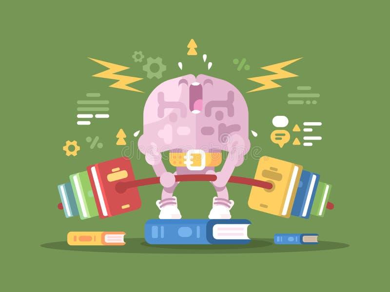 Peso de levantamento do cérebro ilustração royalty free