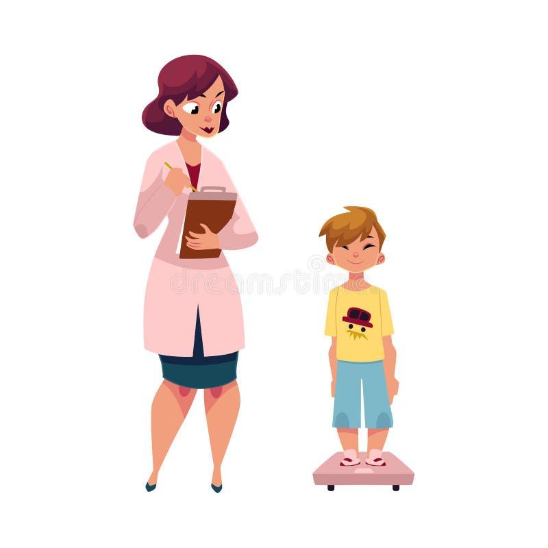 Peso de medición del niño del muchacho, niño del doctor de la mujer ilustración del vector