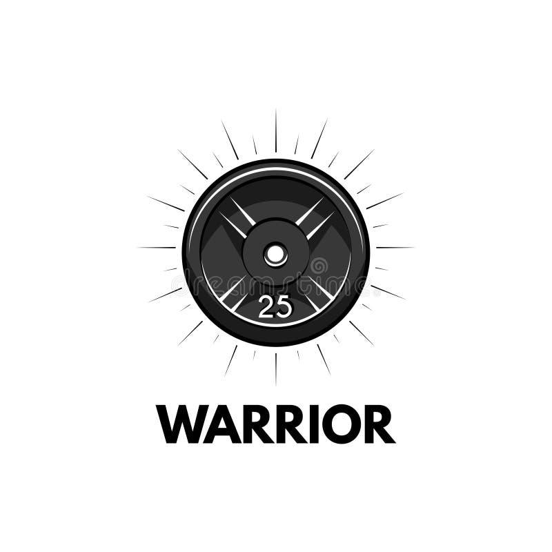 Peso del disco, disco del barbell Insignia de la aptitud Inscripciones del guerrero Vector del icono del deporte ilustración del vector