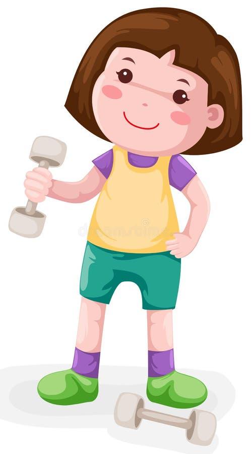 Peso di sollevamento della bambina illustrazione vettoriale