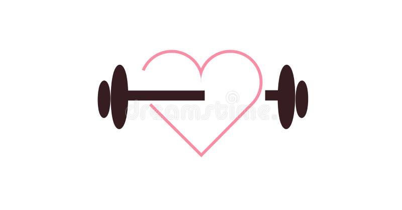 Peso do Barbell, peso, exercício para cuidados médicos do coração, cardiov ilustração royalty free