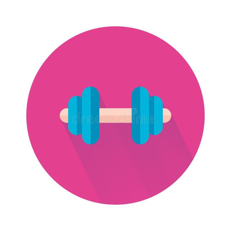 Peso do logotipo no estilo liso Exercício físico, equipamento da aptidão, conceito do exercício ilustração stock