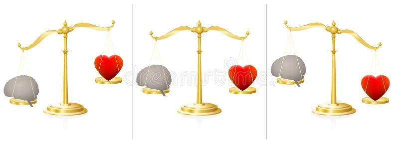 Peso dos cérebros do coração da escala do equilíbrio da alma da mente ilustração do vetor