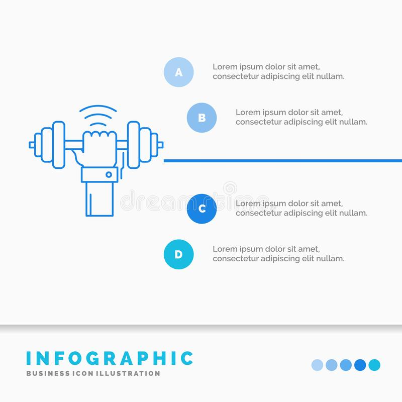 Peso, ganho, levantamento, poder, molde de Infographics do esporte para o Web site e apresenta??o Linha vetor infographic do esti ilustração stock