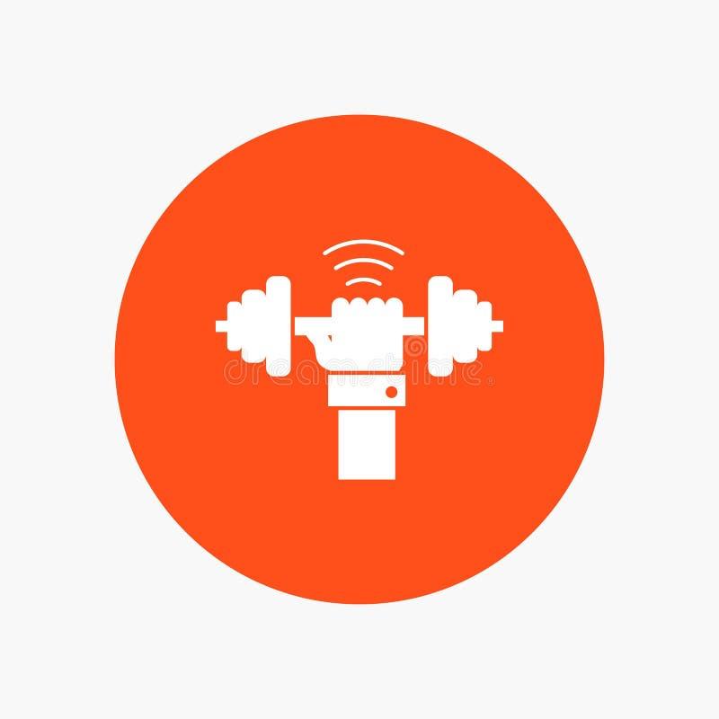 Peso, ganho, levantando, poder, ícone branco do Glyph do esporte no círculo Ilustra??o do bot?o do vetor ilustração do vetor