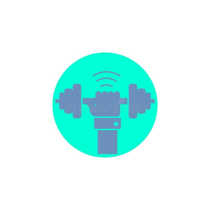 Peso, ganho, levantando, poder, ícone do Glyph do esporte ilustração stock