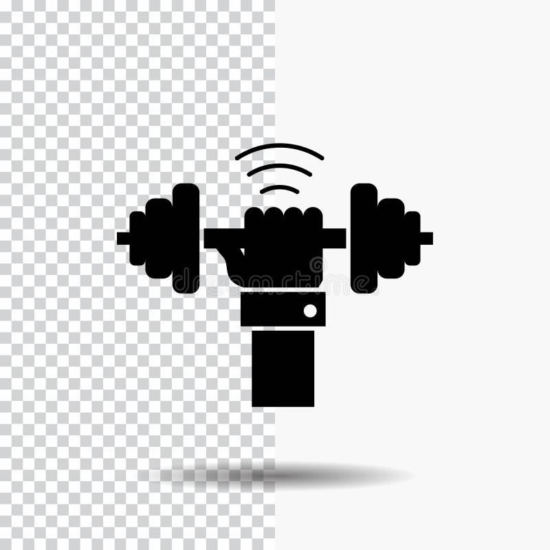 Peso, ganho, levantando, poder, ícone do Glyph do esporte no fundo transparente ?cone preto ilustração stock