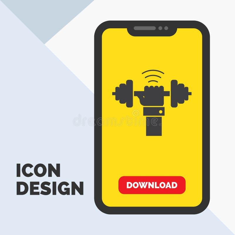 Peso, ganho, levantando, poder, ícone do Glyph do esporte no móbil para a página da transferência Fundo amarelo ilustração stock