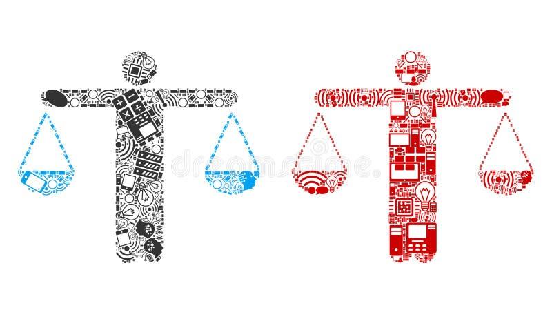 Peso que compara los iconos de la composici?n de la persona para BigData ilustración del vector