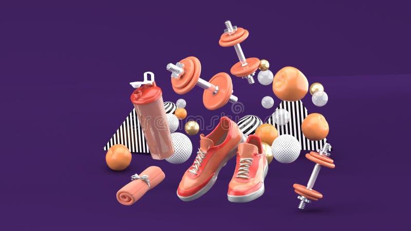 Peso, tênis de corrida, toalha alaranjada entre as bolas coloridas no fundo roxo ilustração stock