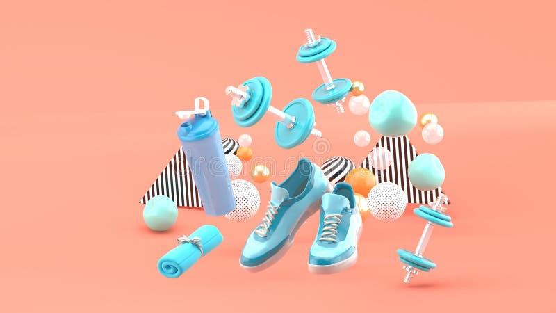 Peso, tênis de corrida, toalha azul entre as bolas coloridas no fundo cor-de-rosa ilustração stock
