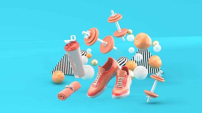 Peso, tênis de corrida, toalha cor-de-rosa entre as bolas coloridas no fundo azul ilustração royalty free