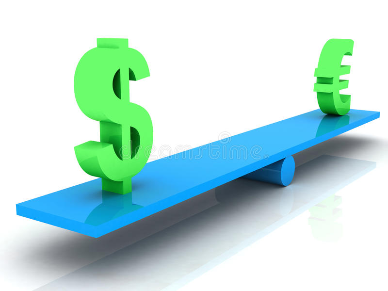 Peso uguale dell'euro e del dollaro illustrazione di stock