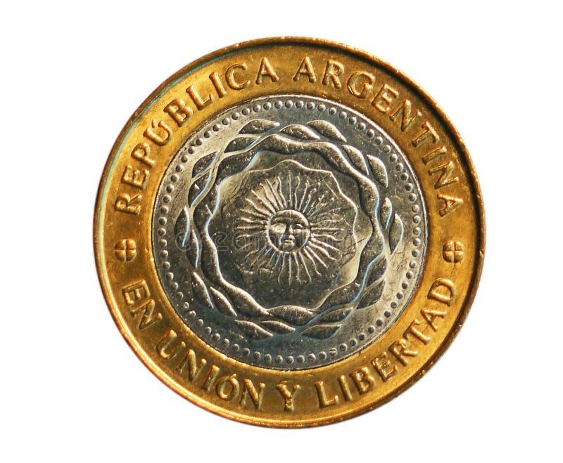 2 peso ukuwają nazwę, bank Argentyna Odwrotność, 2011 fotografia stock