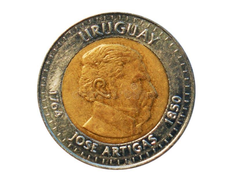 10 Pesos acuñan, general Jose Artigas, banco del año de 150 muertes de Uru fotografía de archivo