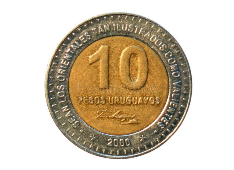 10 Pesos acuñan, general Jose Artigas, banco del año de 150 muertes de Uru fotografía de archivo libre de regalías