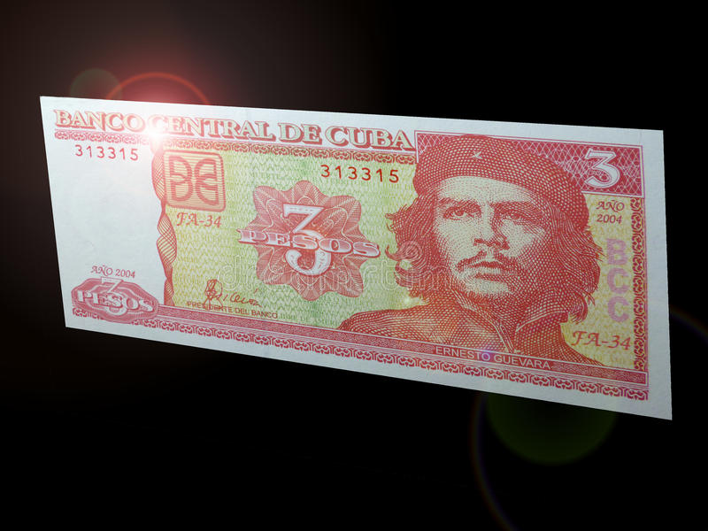 Che Guevara. The banknotes depict the familiar figure of Cuba - Che Guevara with a nominal value of 3 pesos. Banknote on a black background stock photos